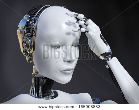 3D rendering of a female robot looking sad and crying image. Dark background.