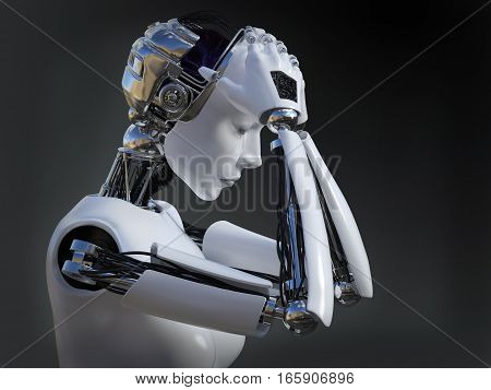 3D rendering of a female robot looking sad and crying image 2. Dark background.