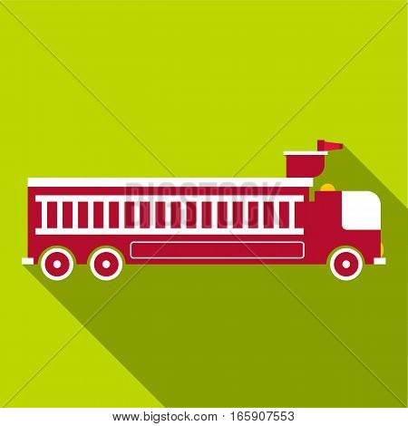 Fire engine icon. Flat illustration of fire engine vector icon for web