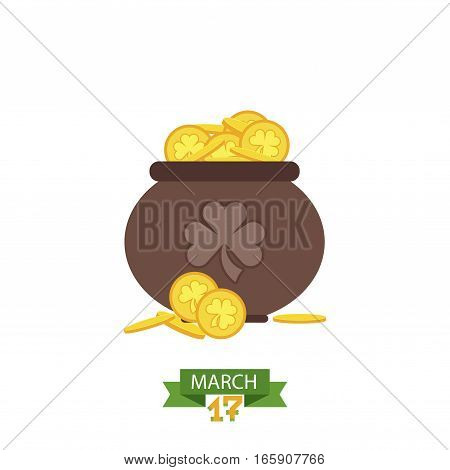 Pot with gold coin for Patrick's day. vector illustration pot with coins isolated on white background. Treasure golden coin luck irish wealth patrick sign.