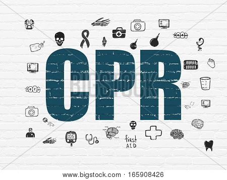 Health concept: Painted blue text CPR on White Brick wall background with  Hand Drawn Medicine Icons