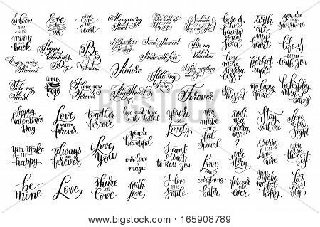 set of 57 black and white hand written lettering about love to valentines day design poster, greeting card, photo album, banner, calligraphy vector illustration collection