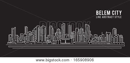 Cityscape Building Line art Vector Illustration design - Belem city