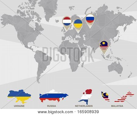 World Map With Ukraine, Russia, Netherlands, Malaysia Pointers