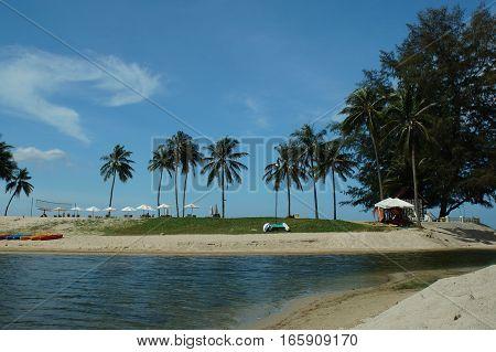 White Sand ,beautiful Beach And Blue Sky Thailand