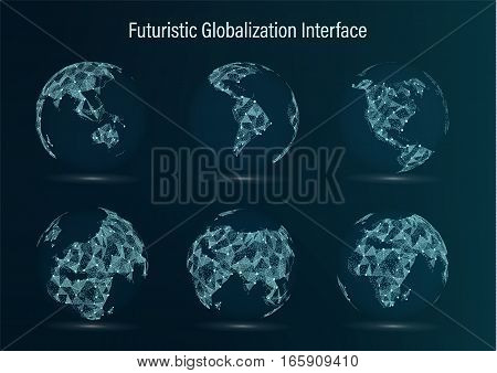 World Map Point Set. North America. South America. Africa. Asia. Europe. Australia And Oceania. Vector Illustration. Futuristic Digital Earth. Science Technology Abstract Background