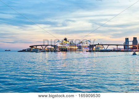 Europa Bridge at the entrance to Port Vell Barcelona, Catalunya Spain. Beautiful tranquille view sunset