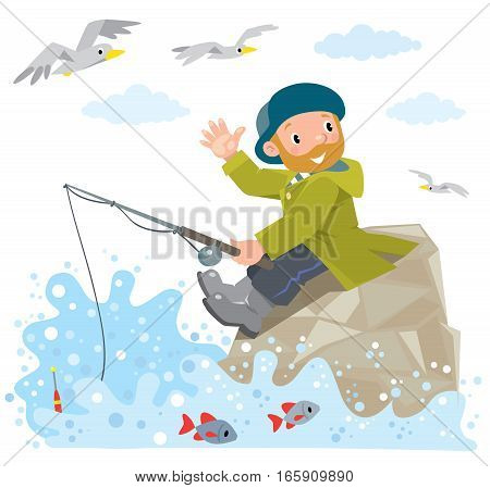 Funny fisherman or Fisher in green coat and hat with fishing rod on a rock near the sea. Waving by hand. Children vector illustration.