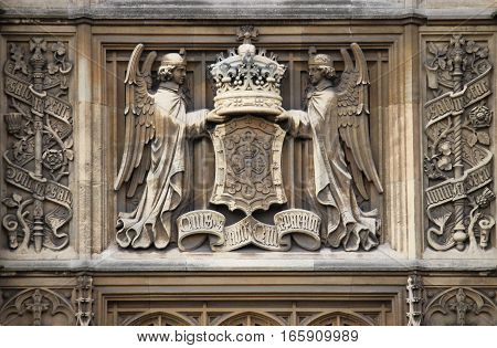 A bas-relief in Westminster Palace. London, UK