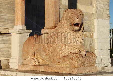 Lion statue at the entrance of Saint Cyriacus cathedral in Ancona, Italy