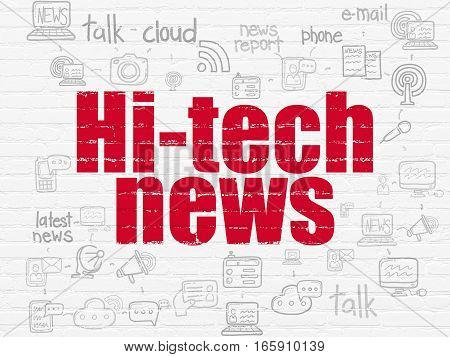 News concept: Painted red text Hi-tech News on White Brick wall background with Scheme Of Hand Drawn News Icons
