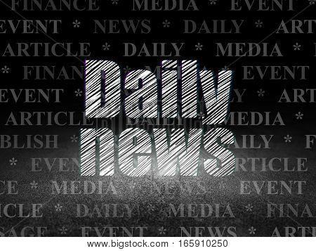 News concept: Glowing text Daily News in grunge dark room with Dirty Floor, black background with  Tag Cloud