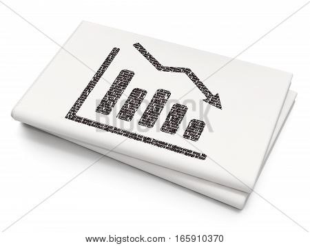News concept: Pixelated black Decline Graph icon on Blank Newspaper background, 3D rendering