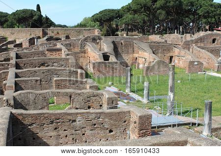 Landscape view of Ostia Antica the old harbour of Rome, Italy