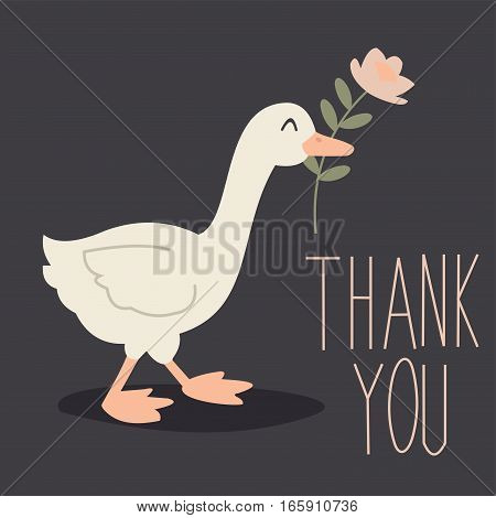 Funny duck is bringing a flower. Vector greeting card. Manual inscription.