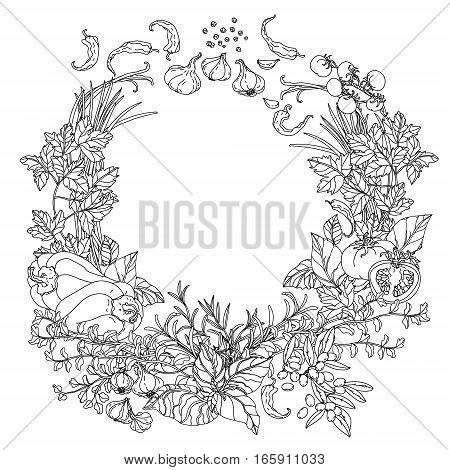contoured wreath of vector italian cuisine elements. Hand drawn. Black and white. Italian food. Vegetables and herbs, olives and tomatoes, garlic. Detailed, contoured, zen coloring book style.