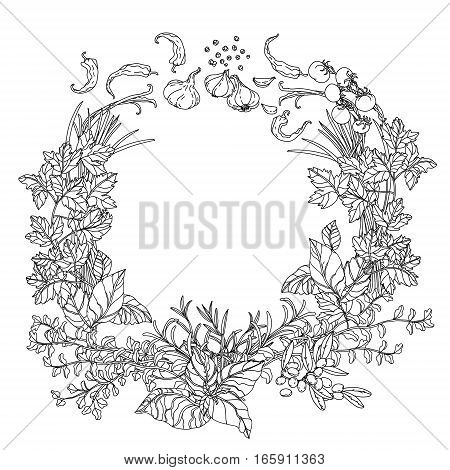 contoured wreath of vector italian cuisine elements. Hand drawn. Black and white. Italian food. Vegetables and herbs, olive oil, tomatoes, garlic. Detailed, contoured, zen coloring book style.