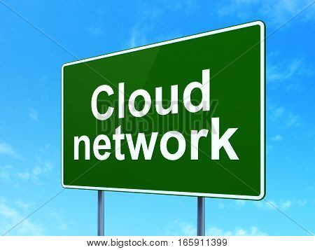 Cloud technology concept: Cloud Network on green road highway sign, clear blue sky background, 3D rendering