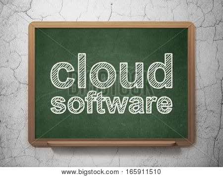 Cloud technology concept: text Cloud Software on Green chalkboard on grunge wall background, 3D rendering