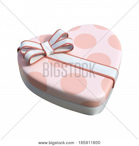 3D rendering of a Valentine chocolate box isolated on white background
