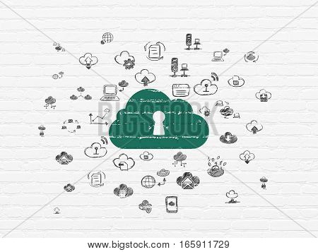 Cloud computing concept: Painted green Cloud With Keyhole icon on White Brick wall background with  Hand Drawn Cloud Technology Icons
