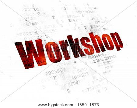 Learning concept: Pixelated red text Workshop on Digital background