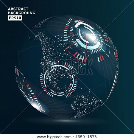 Futuristic Globalization Interface. Vector Illustration. Abstract Digital Backdrop