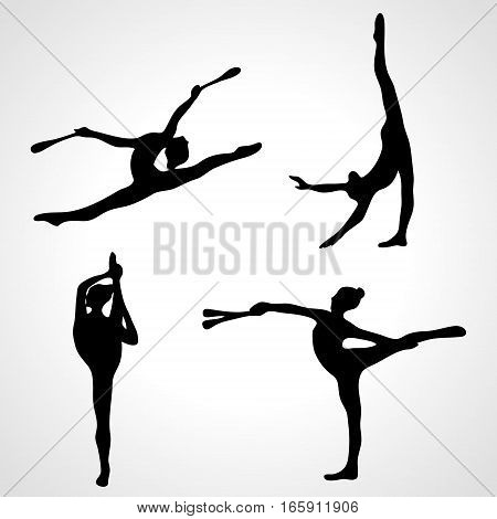 Collection 4 Creative silhouettes of gymnastic girls with clubs. Art gymnastics set, black and white vector illustration