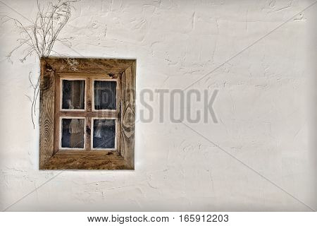 background ancient Ukrainian hut wall with window closeup
