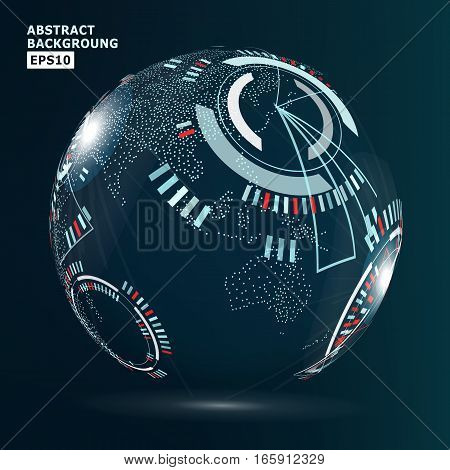 Futuristic Globalization Interface. Vector Abstract Hi-tech Background