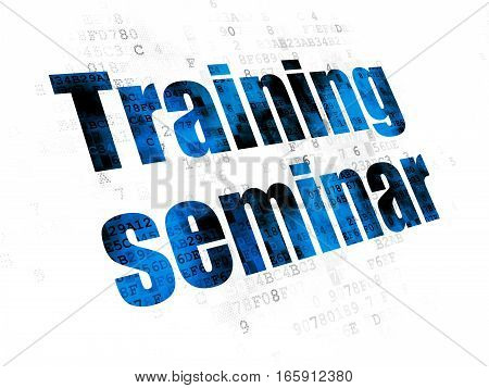 Learning concept: Pixelated blue text Training Seminar on Digital background