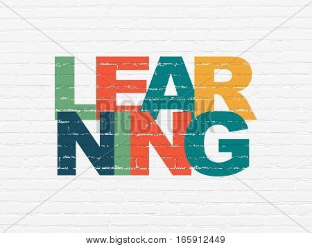 Education concept: Painted multicolor text Learning on White Brick wall background