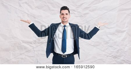 Handsome Male Manager With Palms Up