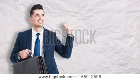 Happy Businessman Celebrating Success