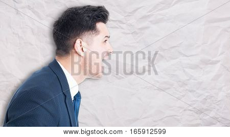 Side Portrait Of Angry Manager Screaming