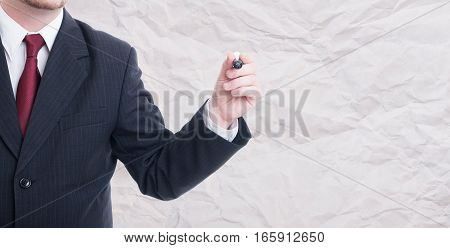 Businessman Writing Or Drawing On Blank Singboard