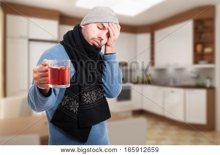 Exhausted Sick Man Refuse To Drink Tea