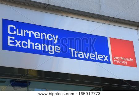 HONG KONG - NOVEMBER 7, 2016: Currency exchange company Travelex. Travelex is a foreign exchange company headquartered in London UK.