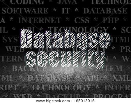 Programming concept: Glowing text Database Security in grunge dark room with Dirty Floor, black background with  Tag Cloud