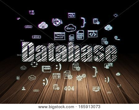 Database concept: Glowing text Database,  Hand Drawn Programming Icons in grunge dark room with Wooden Floor, black background