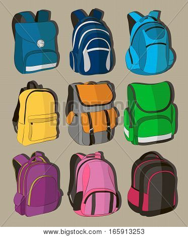 Colored school backpacks set. Education and study back to school, schoolbag luggage, rucksack vector illustration