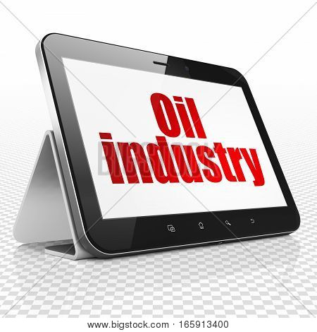 Manufacuring concept: Tablet Computer with red text Oil Industry on display, 3D rendering