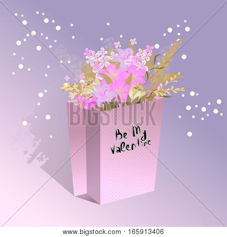 Package with flowers. Handdrawing lettering Be My Valentine with bouquet.