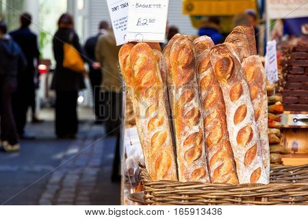 Freshly Baked Baguette On Display