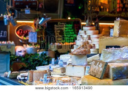 Variety Of Cheeses On Display