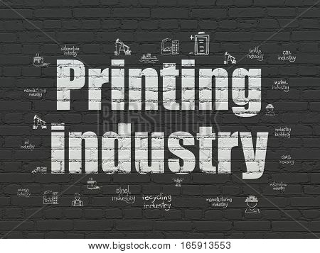 Industry concept: Painted white text Printing Industry on Black Brick wall background with  Hand Drawn Industry Icons