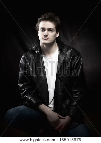 Portrait of a Young Man in Leather Jacket.