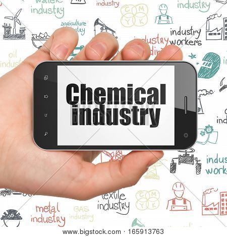 Industry concept: Hand Holding Smartphone with  black text Chemical Industry on display,  Hand Drawn Industry Icons background, 3D rendering