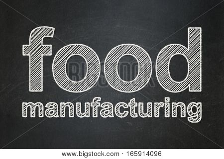 Manufacuring concept: text Food Manufacturing on Black chalkboard background