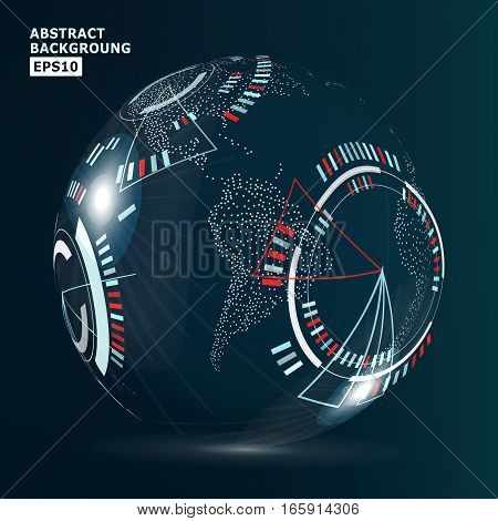 Futuristic Globalization Interface. Modern Earth Concept. Technological Digital Globe World